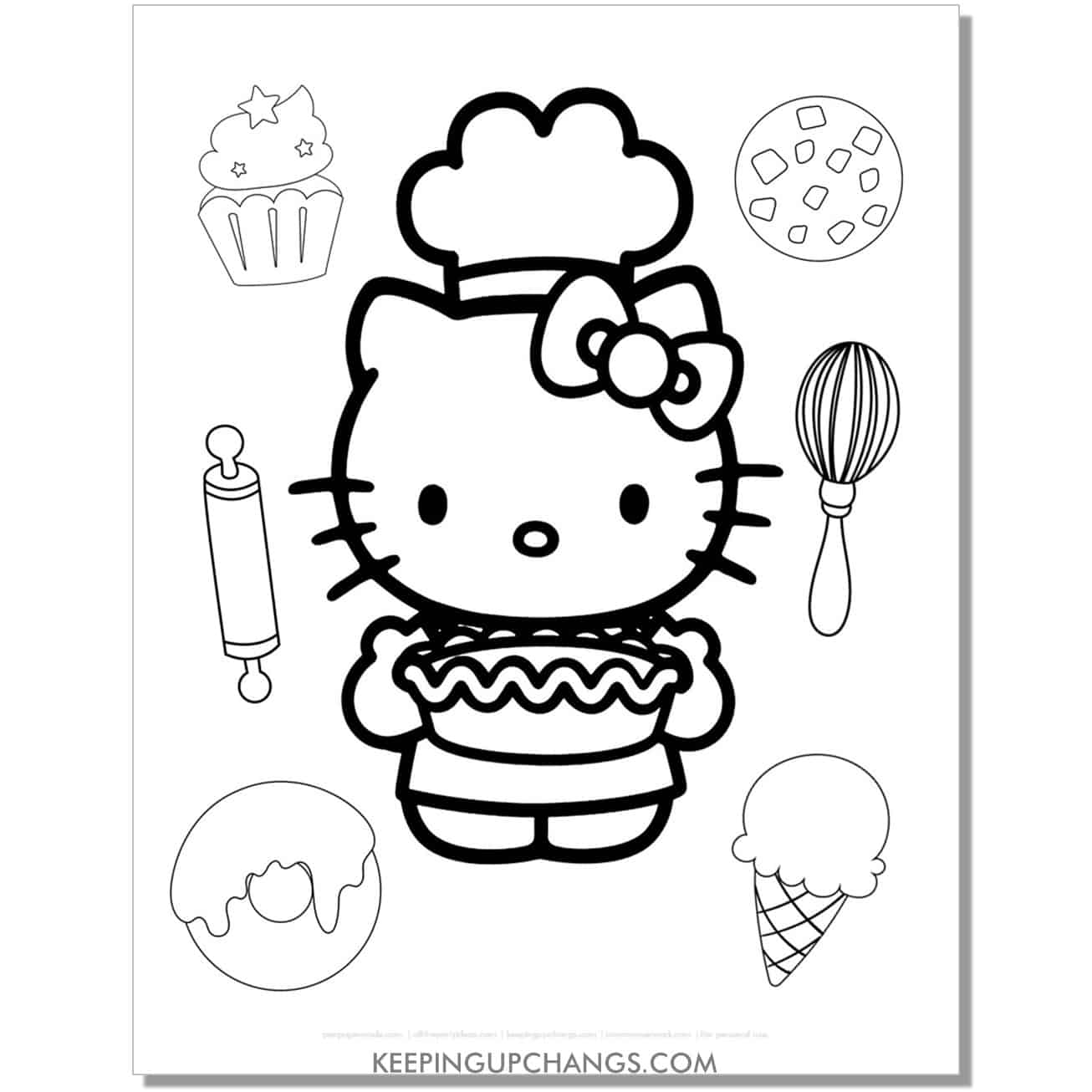baking dessert hello kitty coloring page.