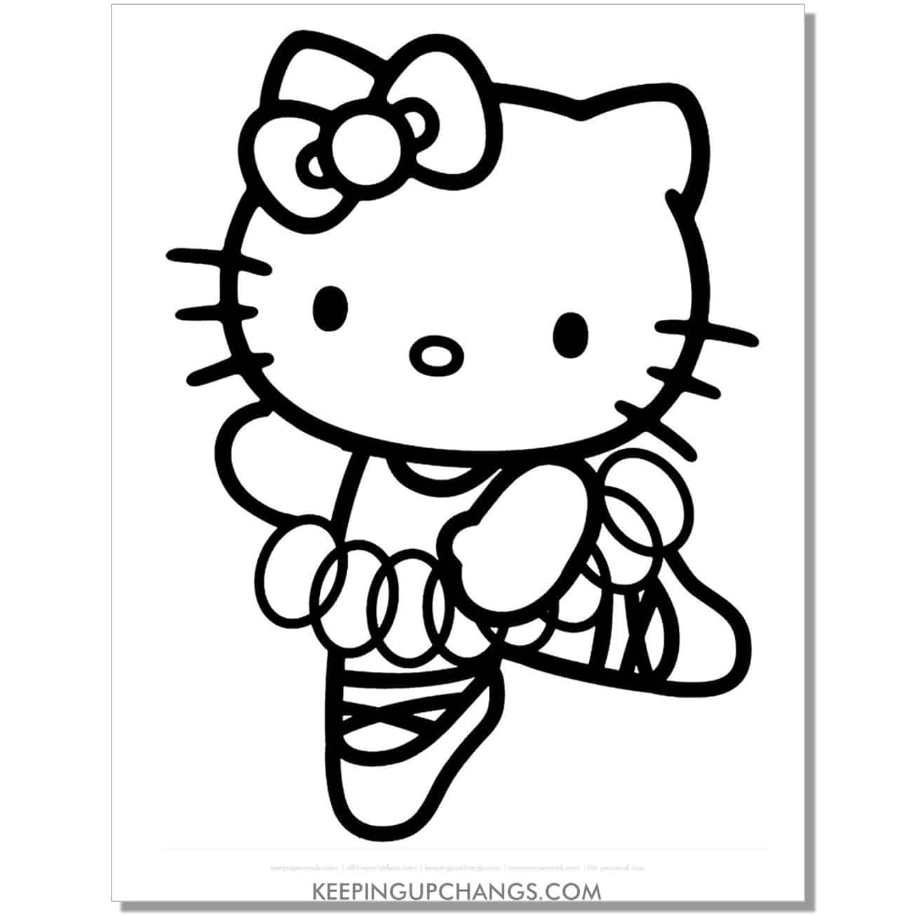 ballerina hello kitty coloring page.