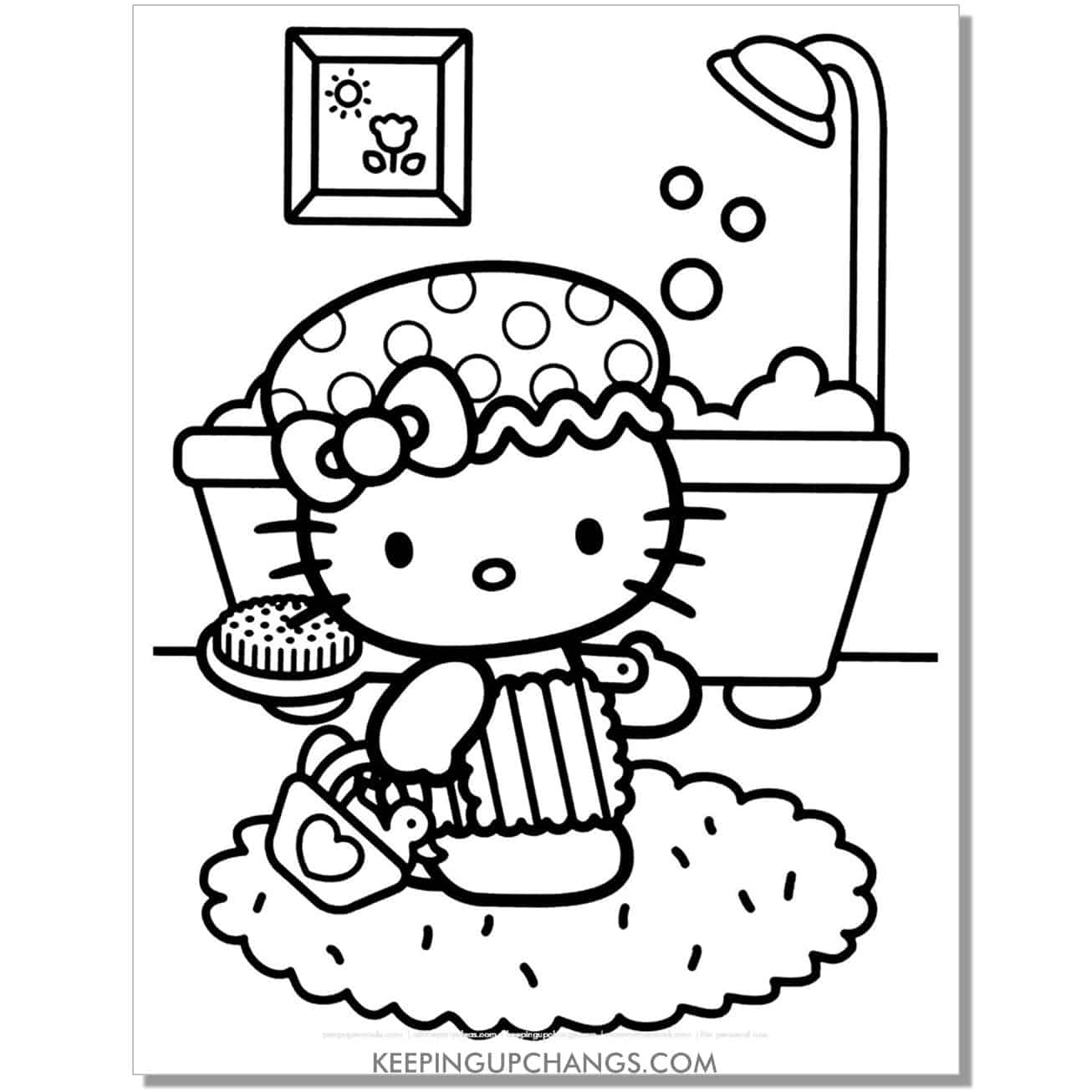 clean up bath time hello kitty coloring page.