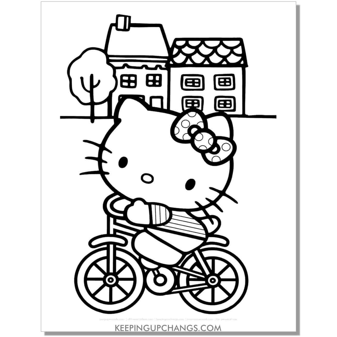 hello kitty on bike in neighborhood coloring page.