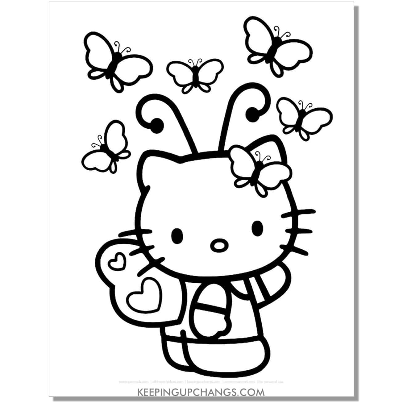 spring butterfly hello kitty coloring page.