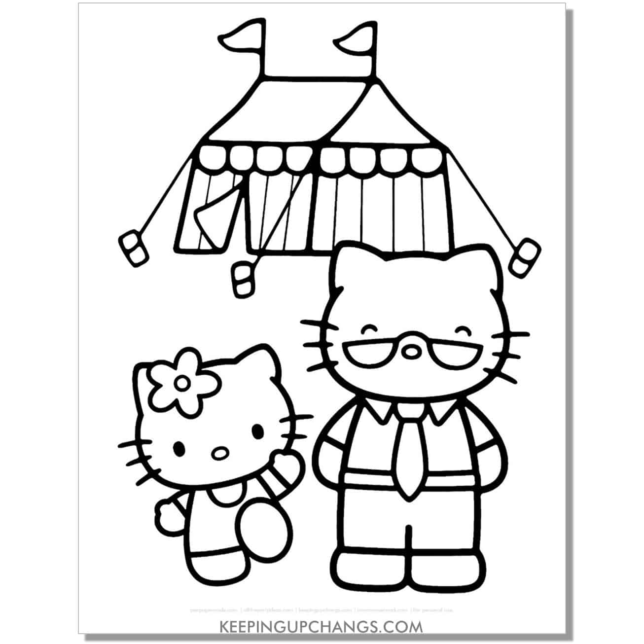 outdoor carnival fair hello kitty coloring page.