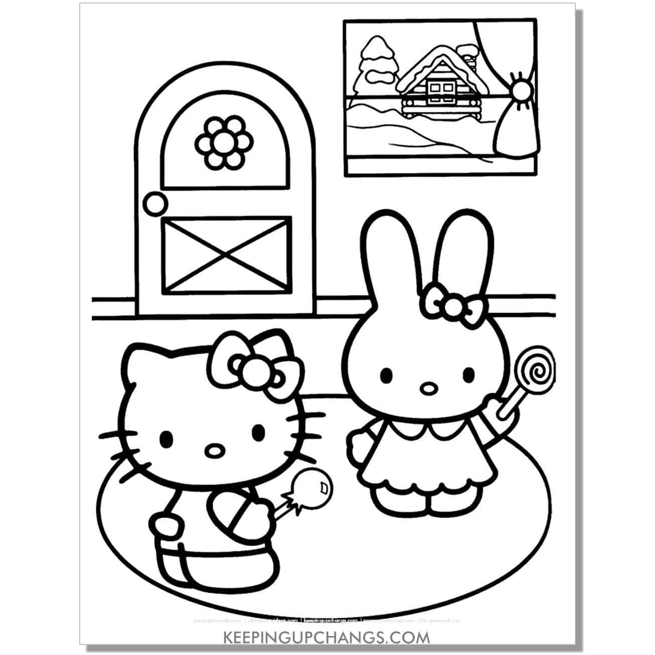 winter hello kitty coloring page.