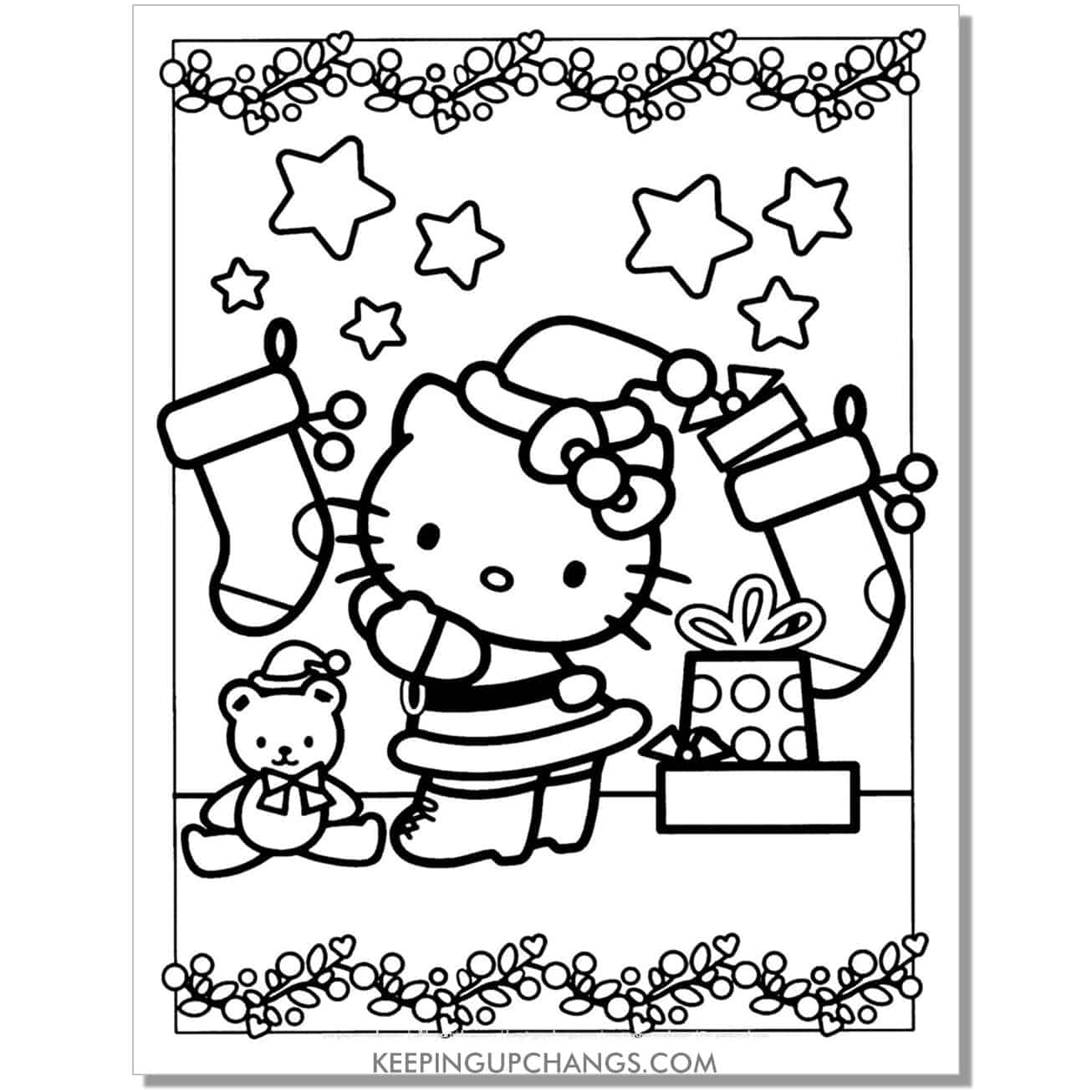 christmas stocking and garland hello kitty coloring page.