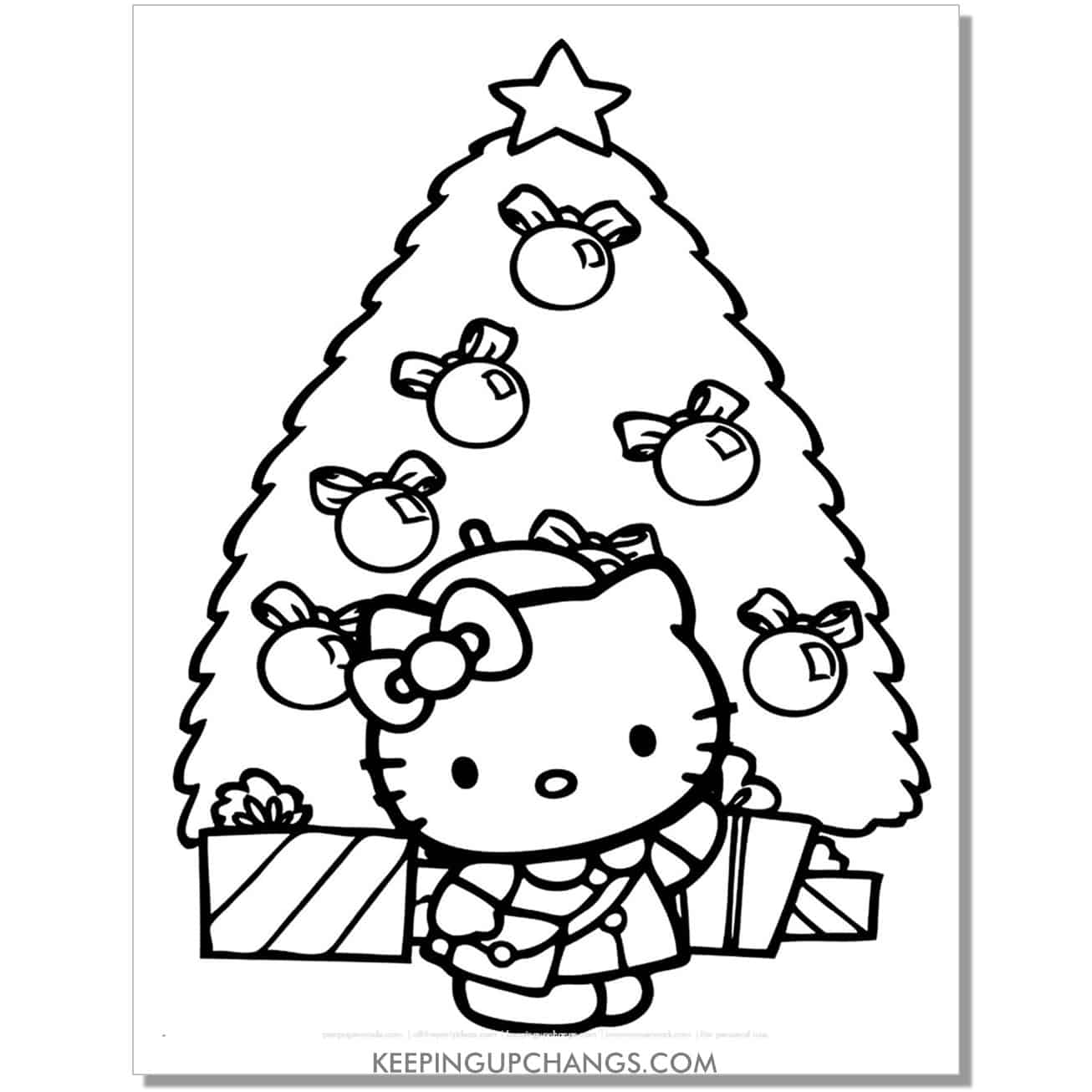 christmas tree hello kitty coloring page.