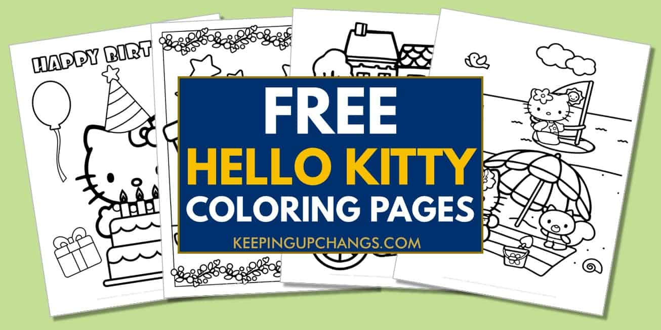 spread of free hello kitty coloring pages.