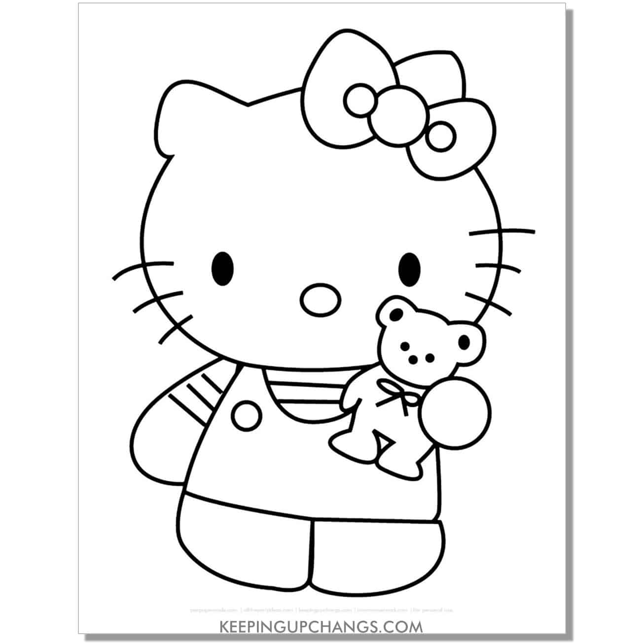 hello kitty with teddy bear coloring page.