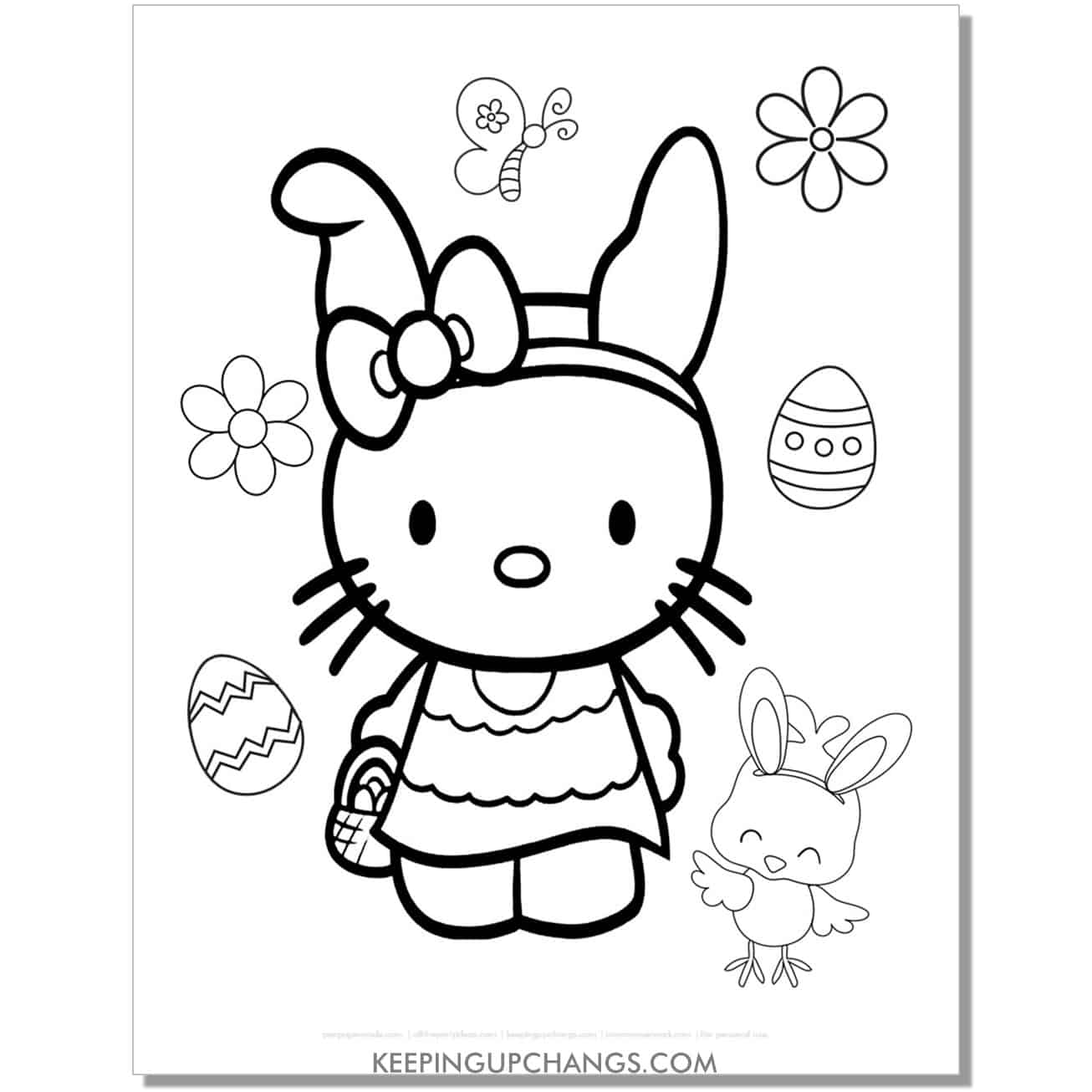 easter bunny hello kitty coloring page with eggs, butterfly, and chick.