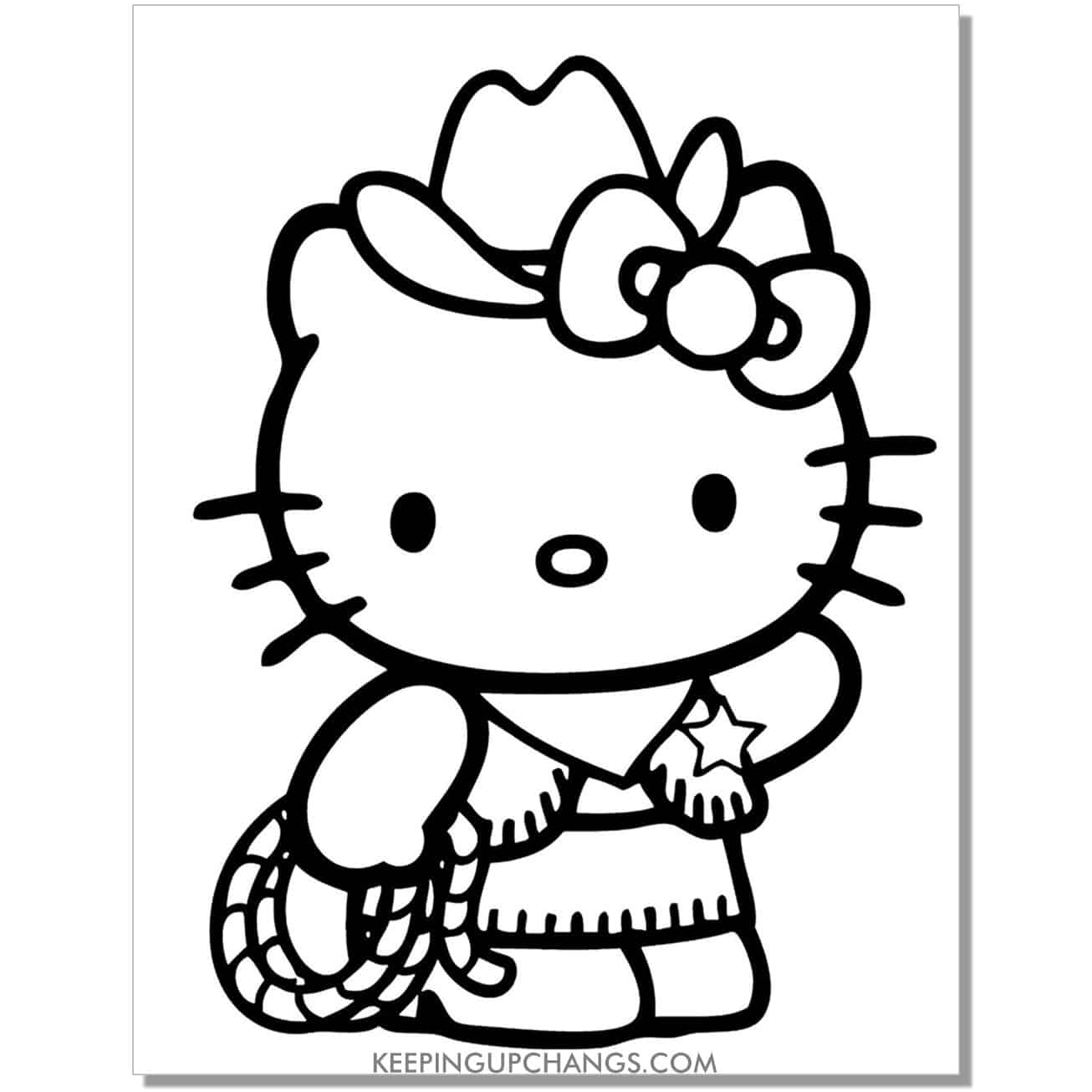 wild wild west hello kitty coloring page.