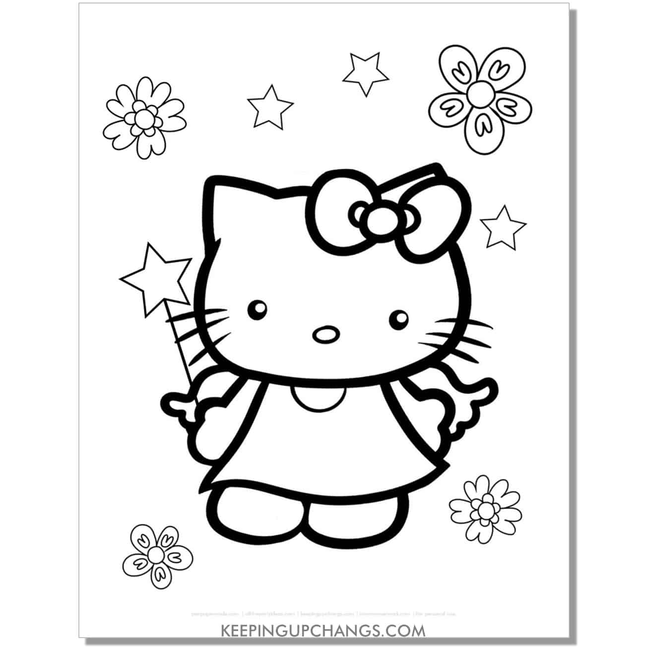fairy with flowers, stars, wand hello kitty coloring page.
