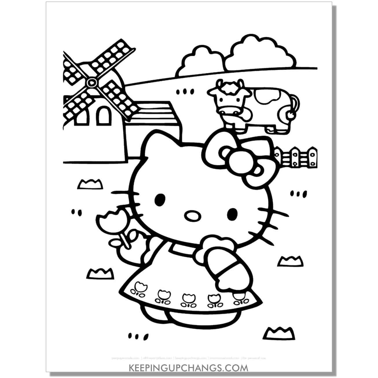 farm girl windmill hello kitty coloring page.
