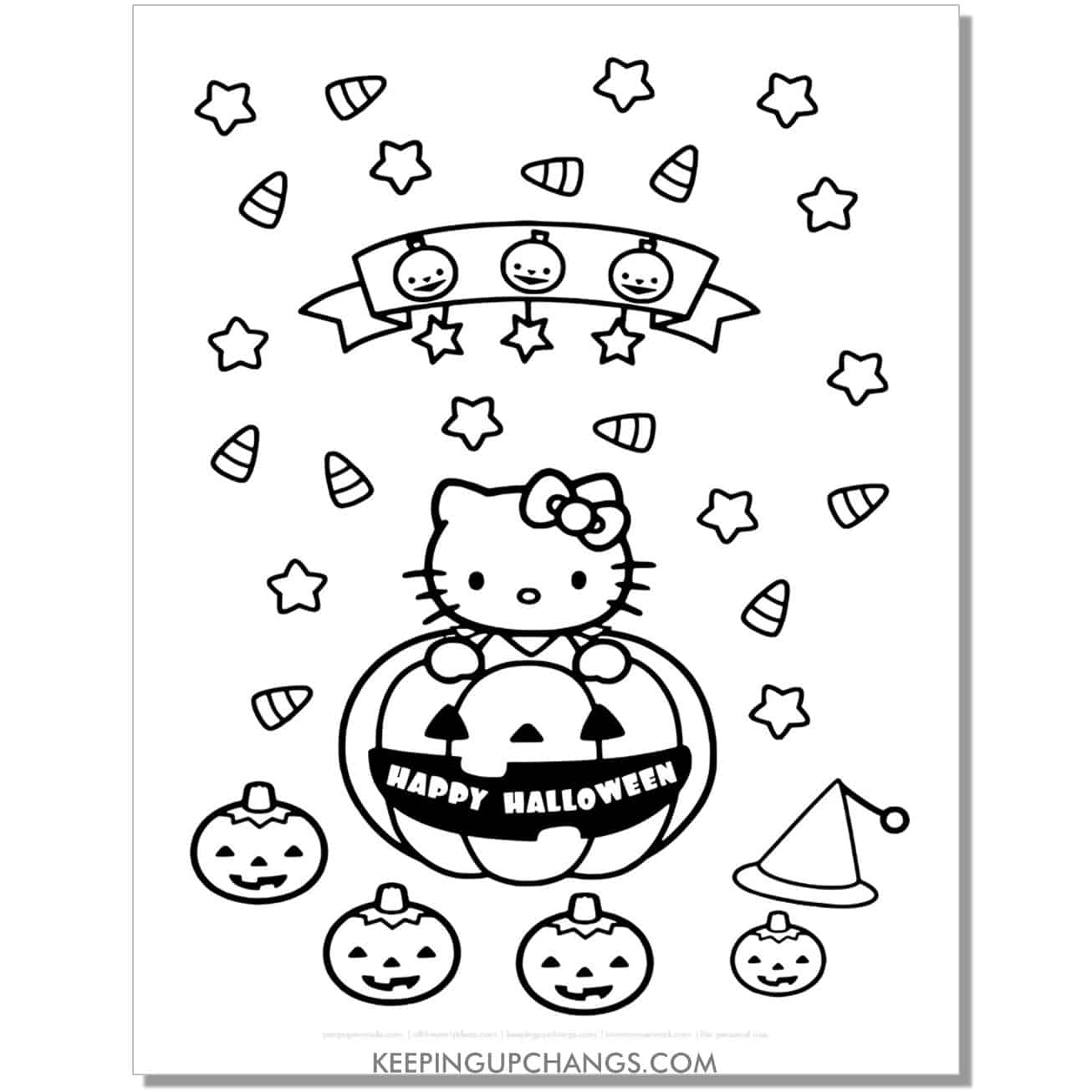 happy halloween candy corn, pumpkin hello kitty coloring page.