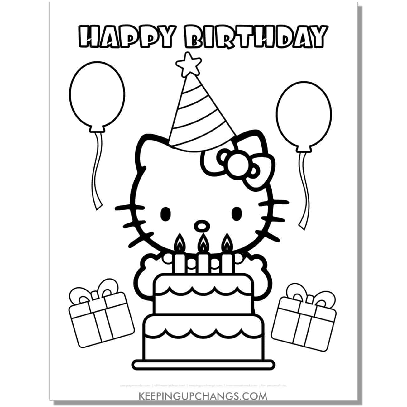 happy birthday with balloon, cake, presents hello kitty coloring page.