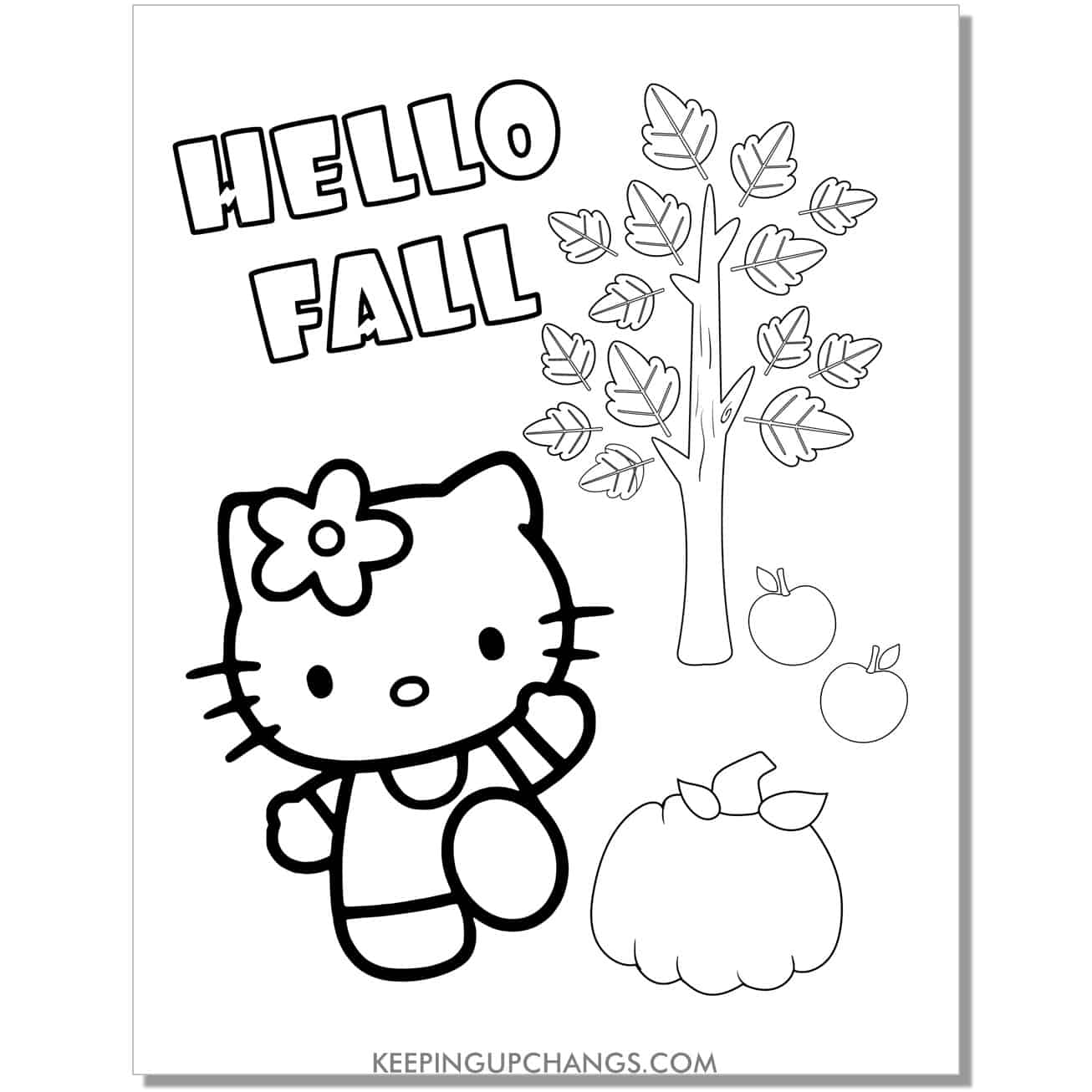 hello fall autumn hello kitty coloring page.