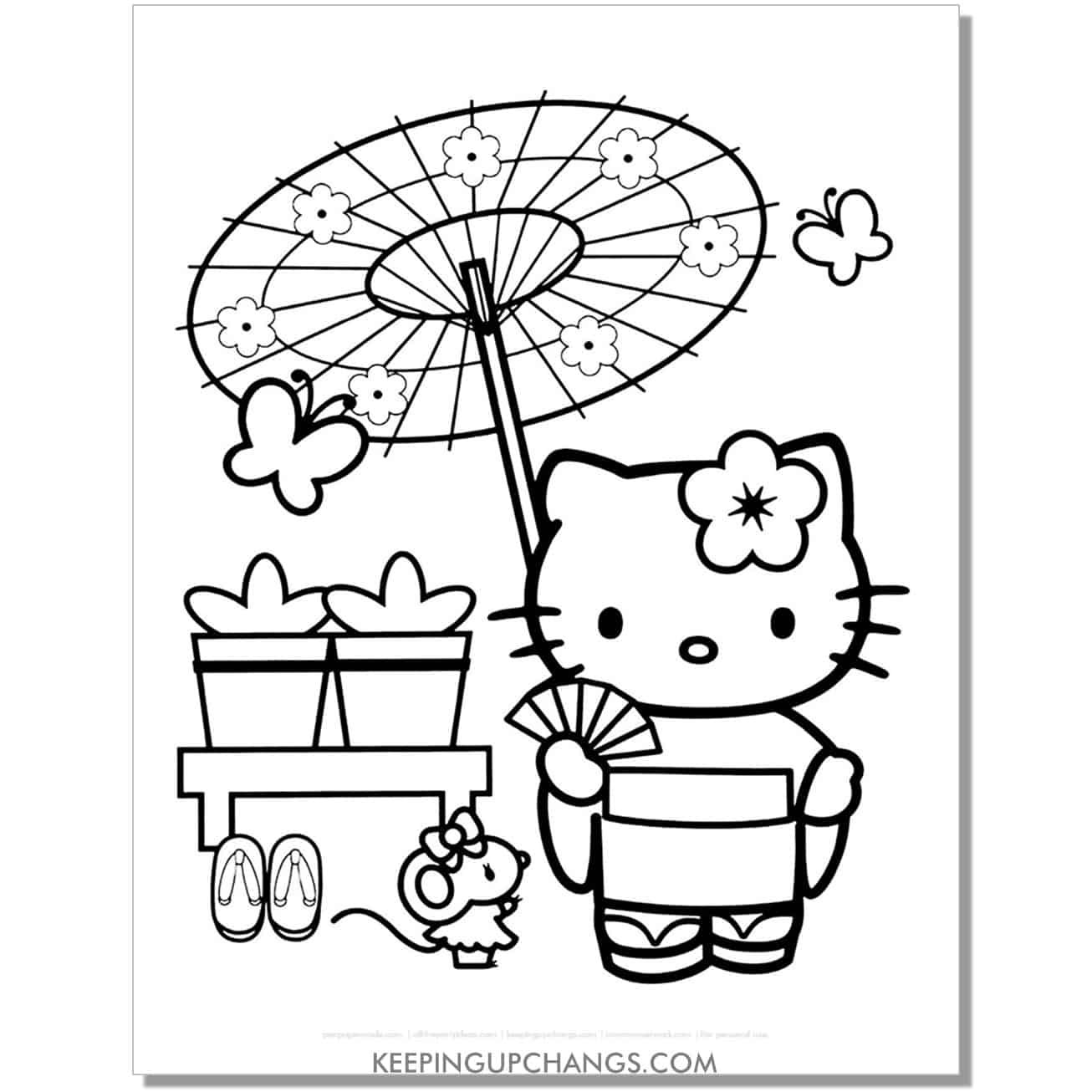 hello kitty in japanese kimono with umbrella coloring page.