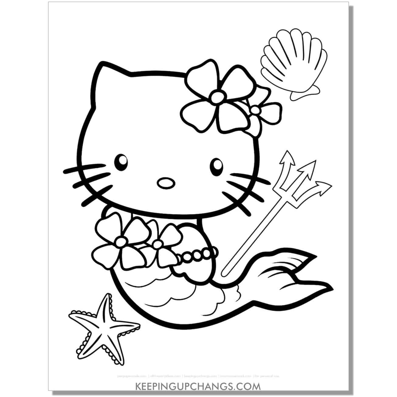mermaid with seashell, starfish, pitchfork hello kitty coloring page.