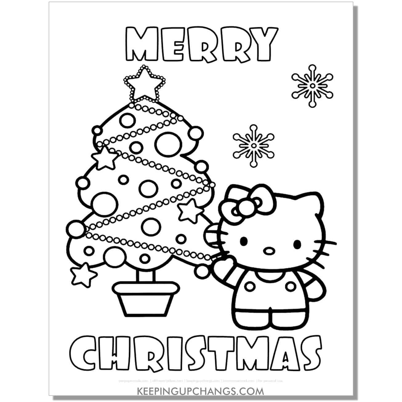 merry christmas tree and snowflakes hello kitty coloring page.