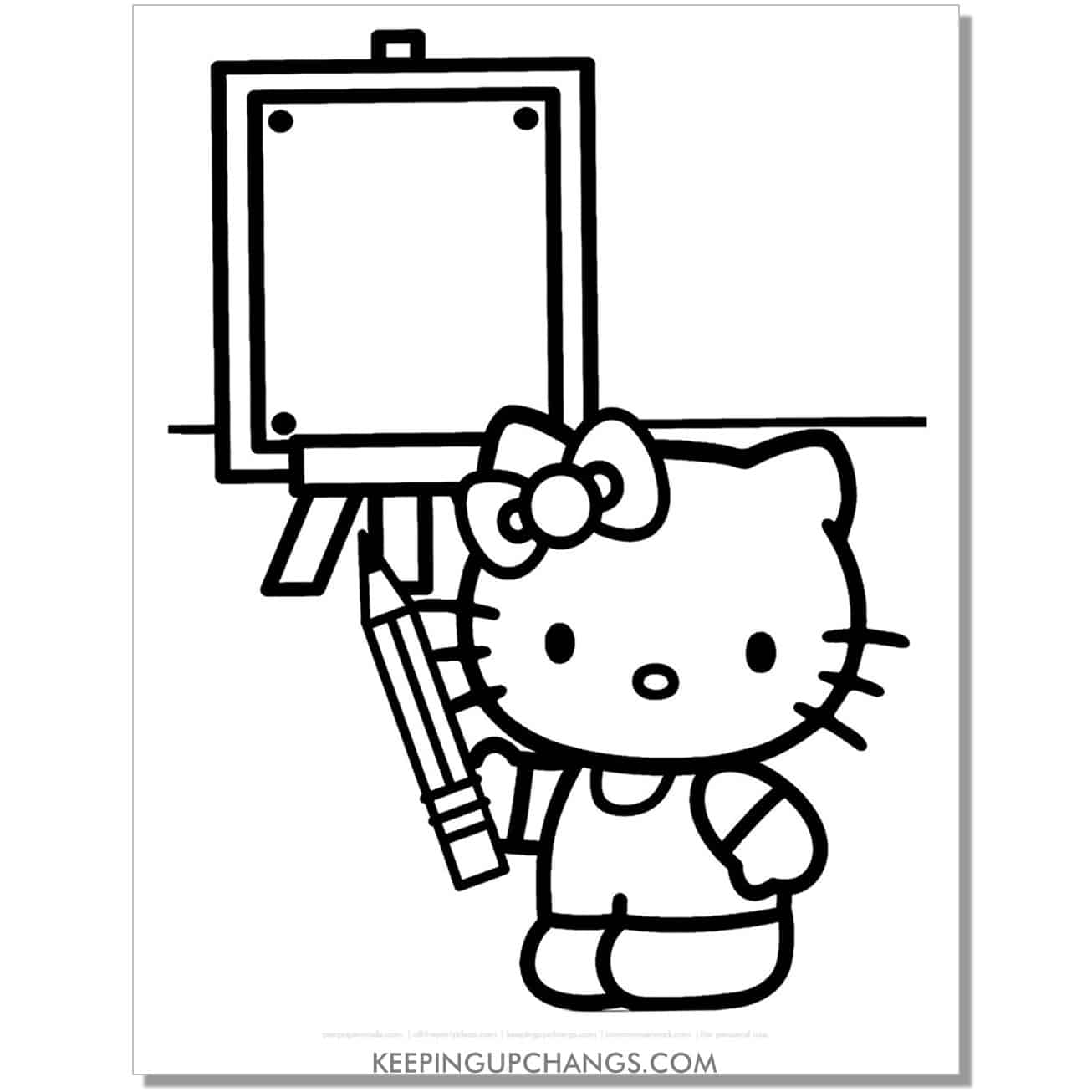 school easel and pencil hello kitty coloring page.