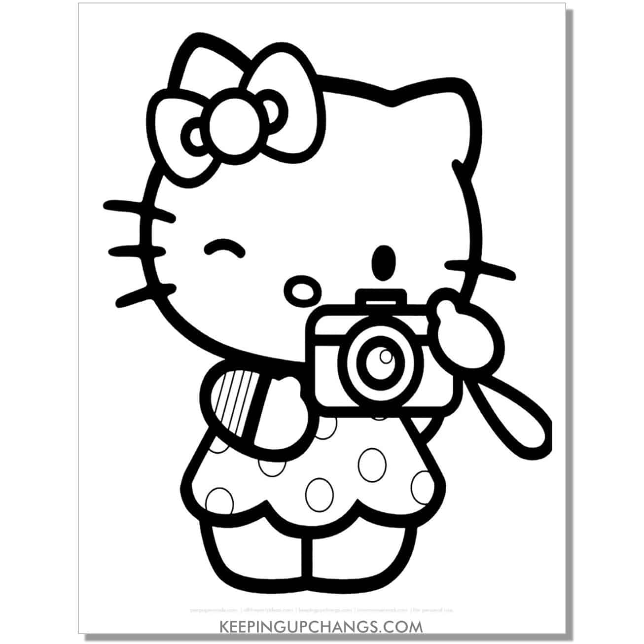 tourist camera photography hello kitty coloring page.