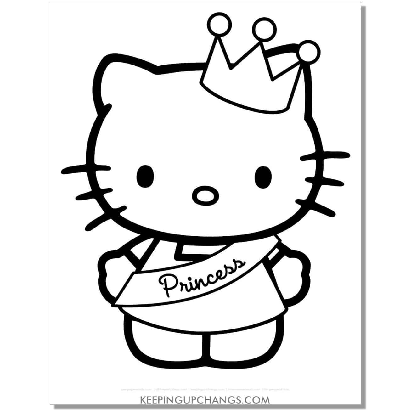 princess crown hello kitty coloring page.