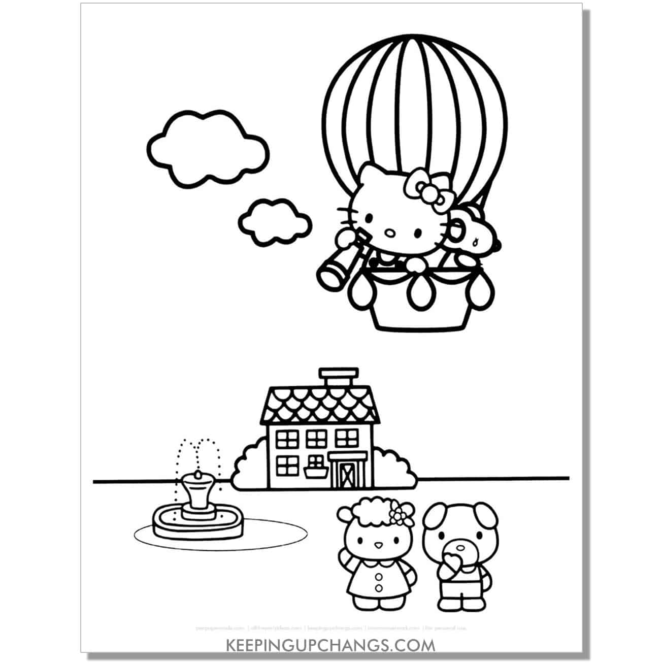 hot air balloon traveling hello kitty coloring page.