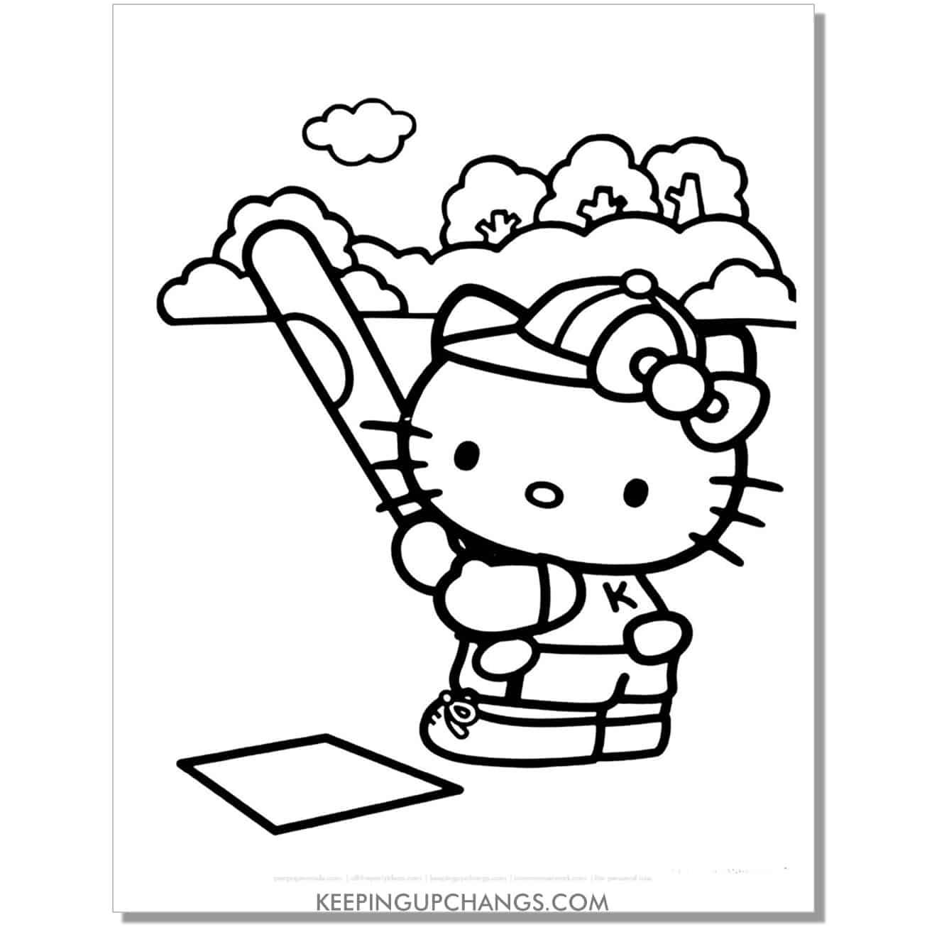 baseball sport hello kitty coloring page.