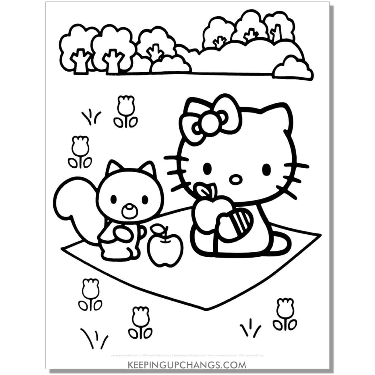 hello kitty picnic apple friend coloring page.