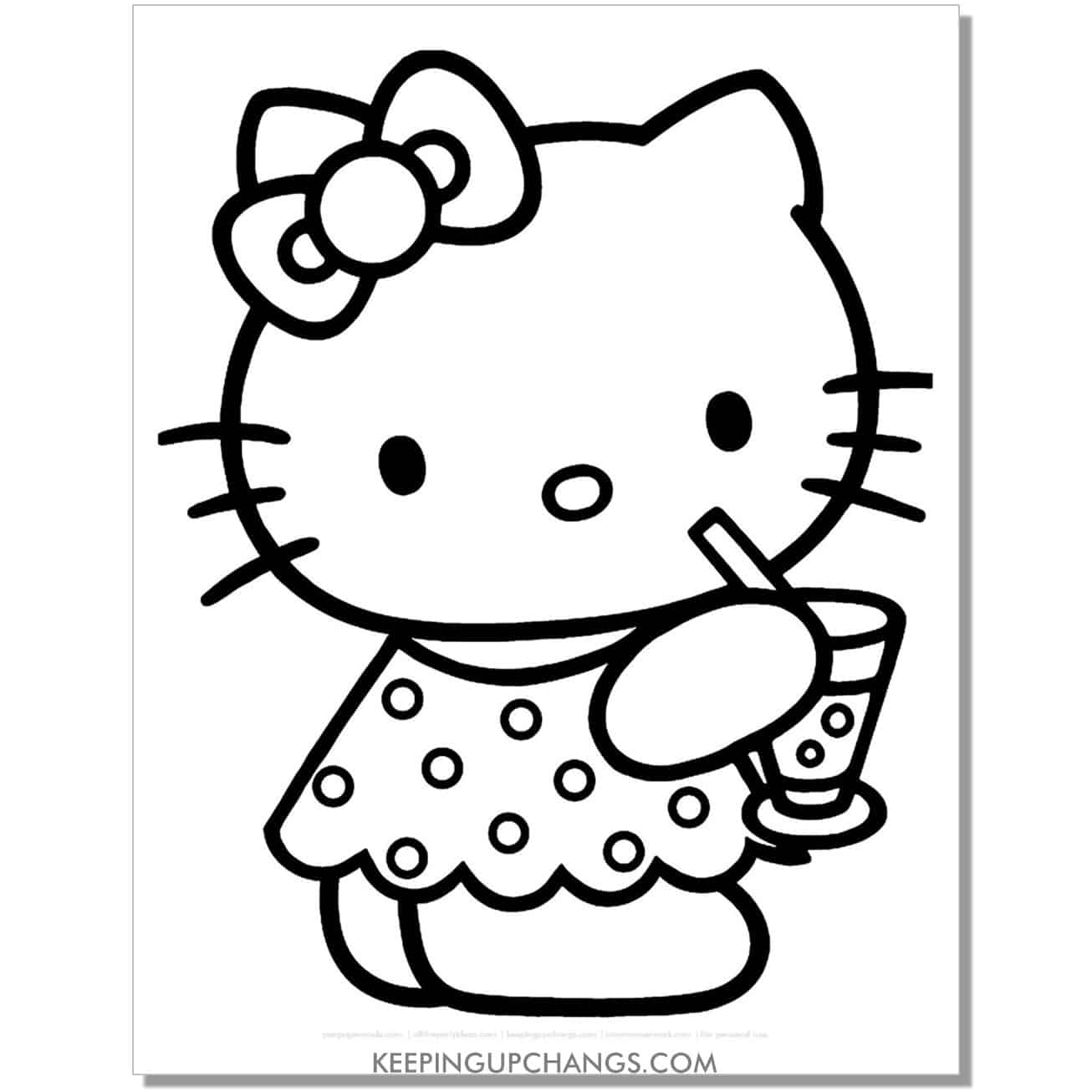 summer pool drink hello kitty coloring page.