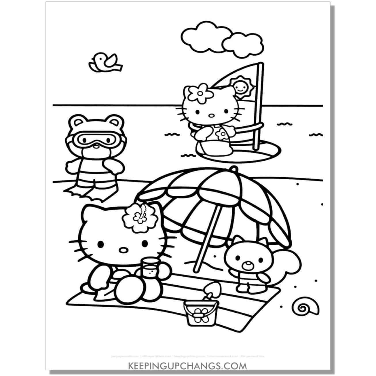 summer beach hello kitty coloring page.