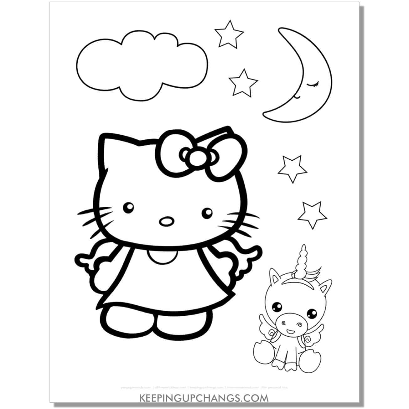unicorn hello kitty bedtime dream coloring page.