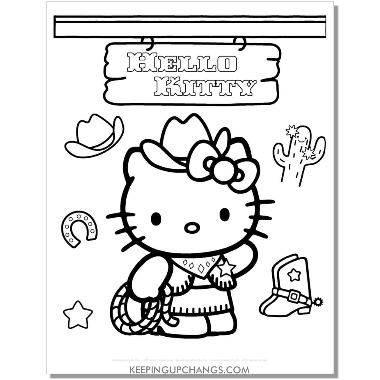western cow girl hello kitty coloring page.