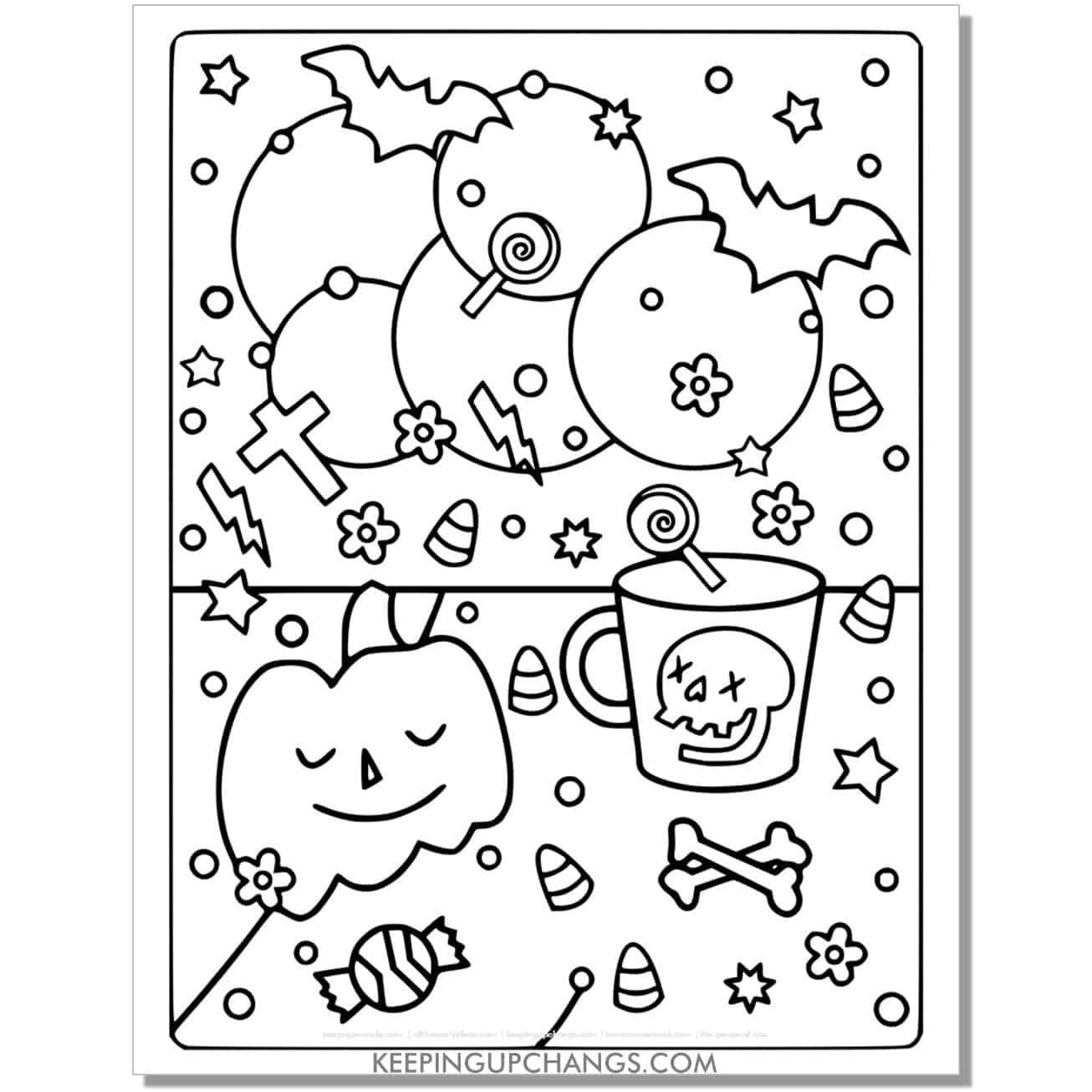 free halloween pumpkin bat, cross, candy corn coloring page.