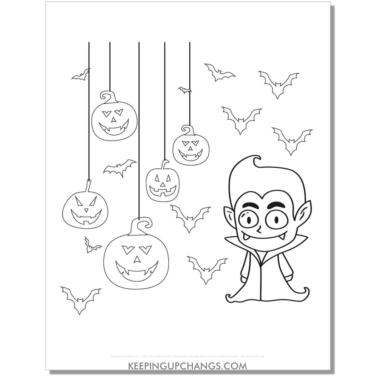 free baby count dracula vampire coloring page.