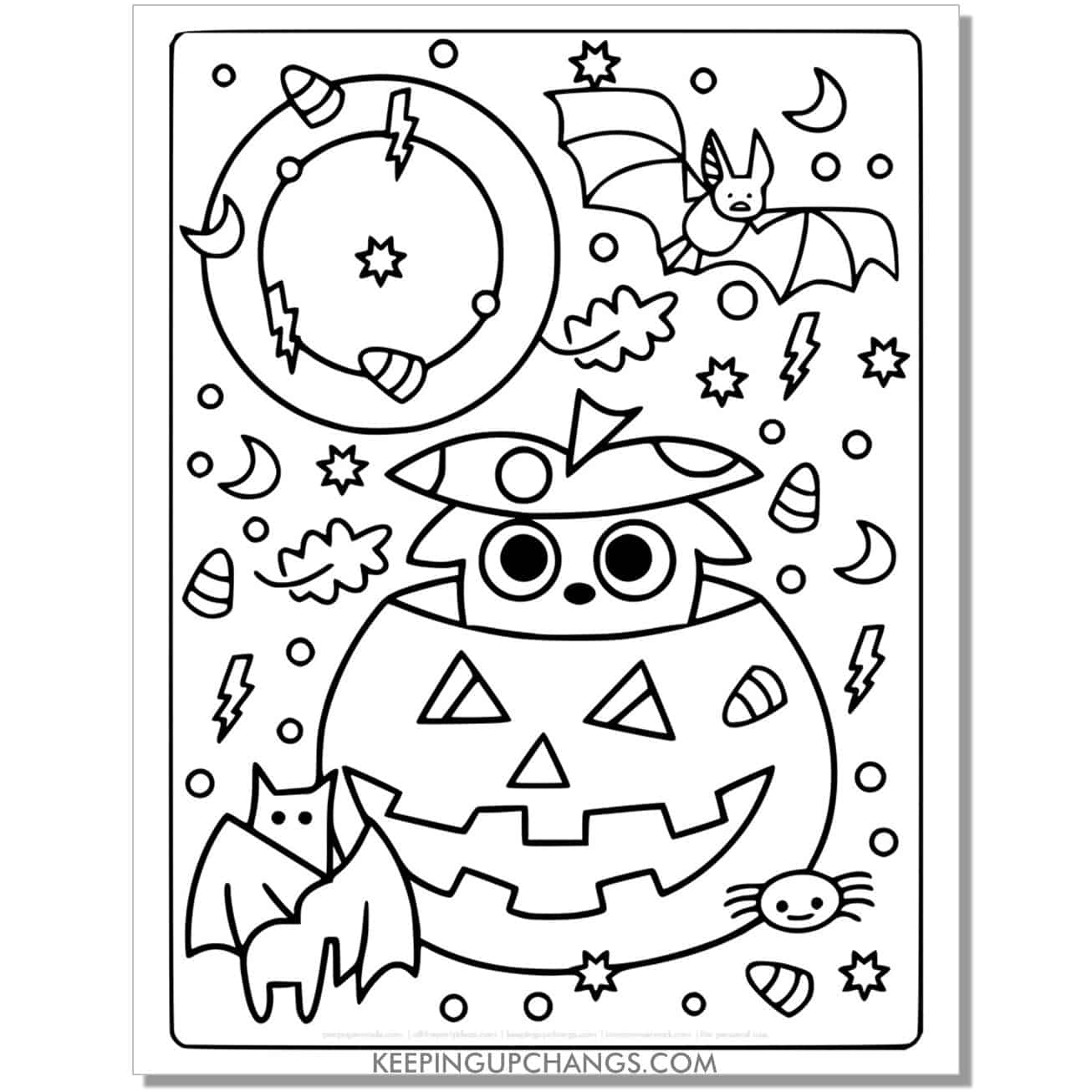 free cute animal popping out of halloween pumpkin and bats coloring page.