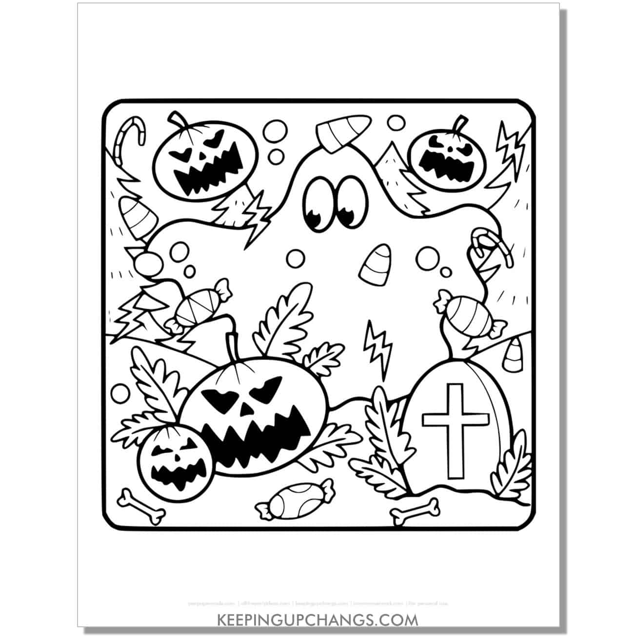 free halloween ghost, with jack o lantern pumpkin coloring page.