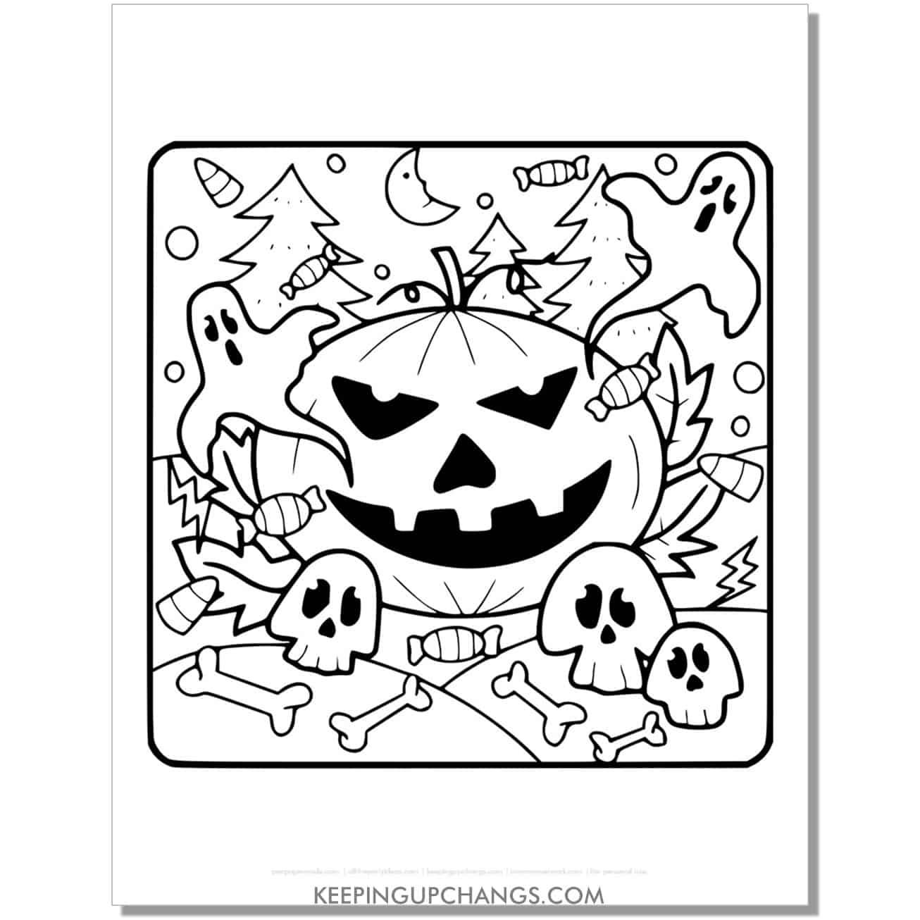 free halloween pumpkin jack o lantern, ghost, skulls coloring page.