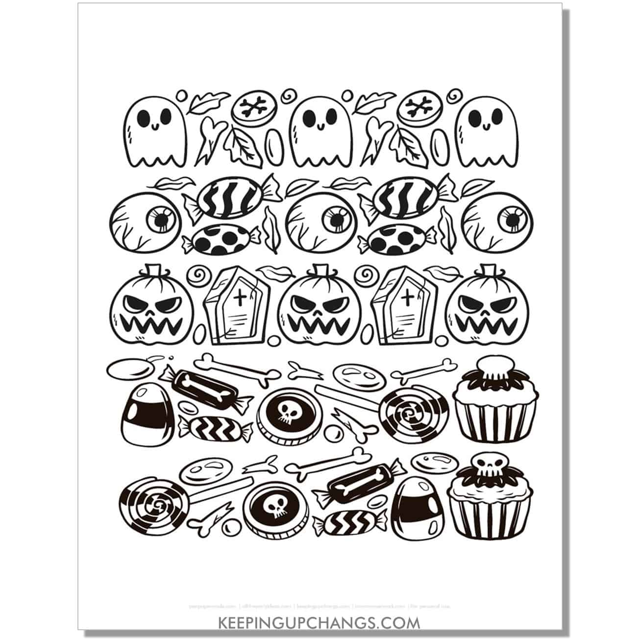 free halloween drawings of ghosts, eyeballs, jack o latern coloring page.