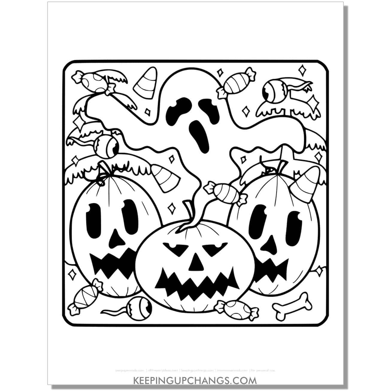 free halloween jack o lantern and ghost coloring page.