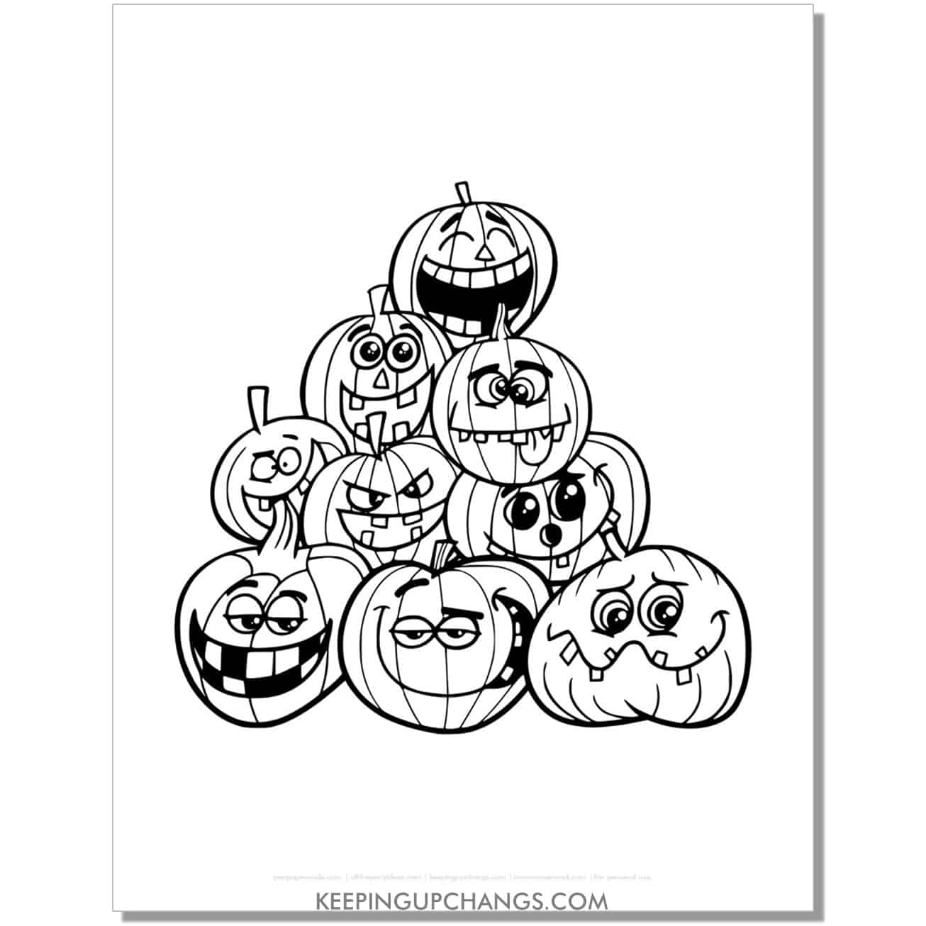 free funny halloween pumpkin stack coloring page.