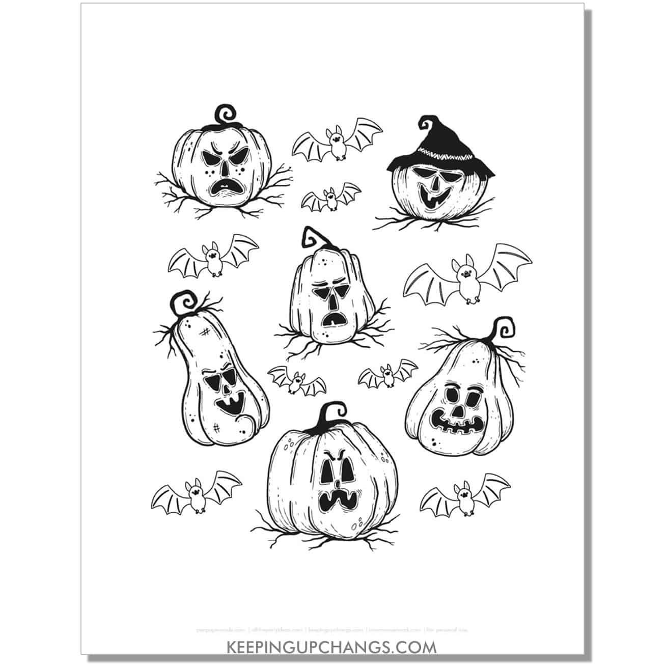 free scary halloween pumpkin patch coloring page.