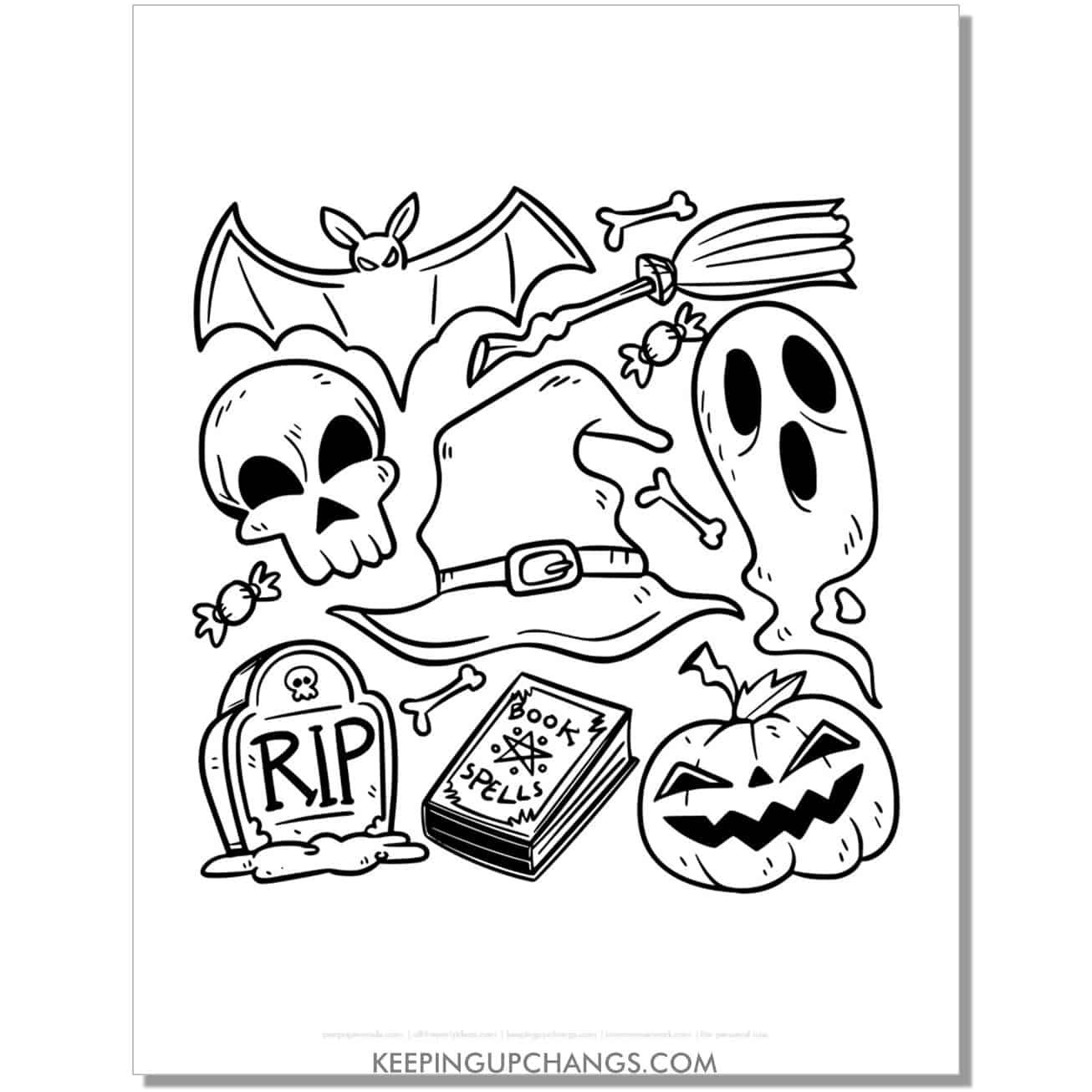 free halloween ghost, skull, jack o lantern, bat coloring page.