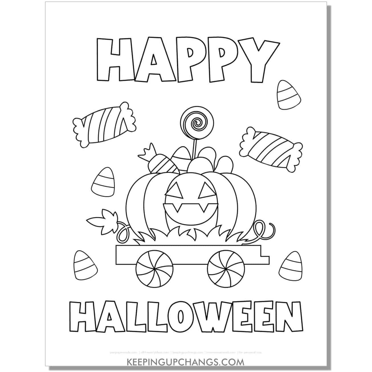 free happy halloween pumpkin treats train coloring page.