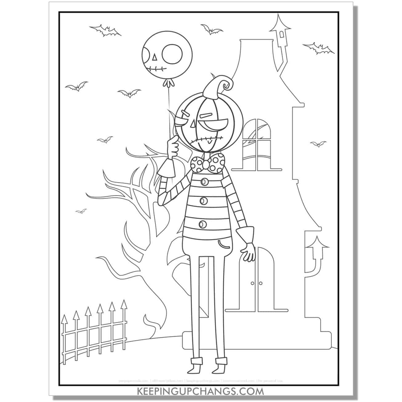 free jack o lantern and haunted house coloring page for kids.