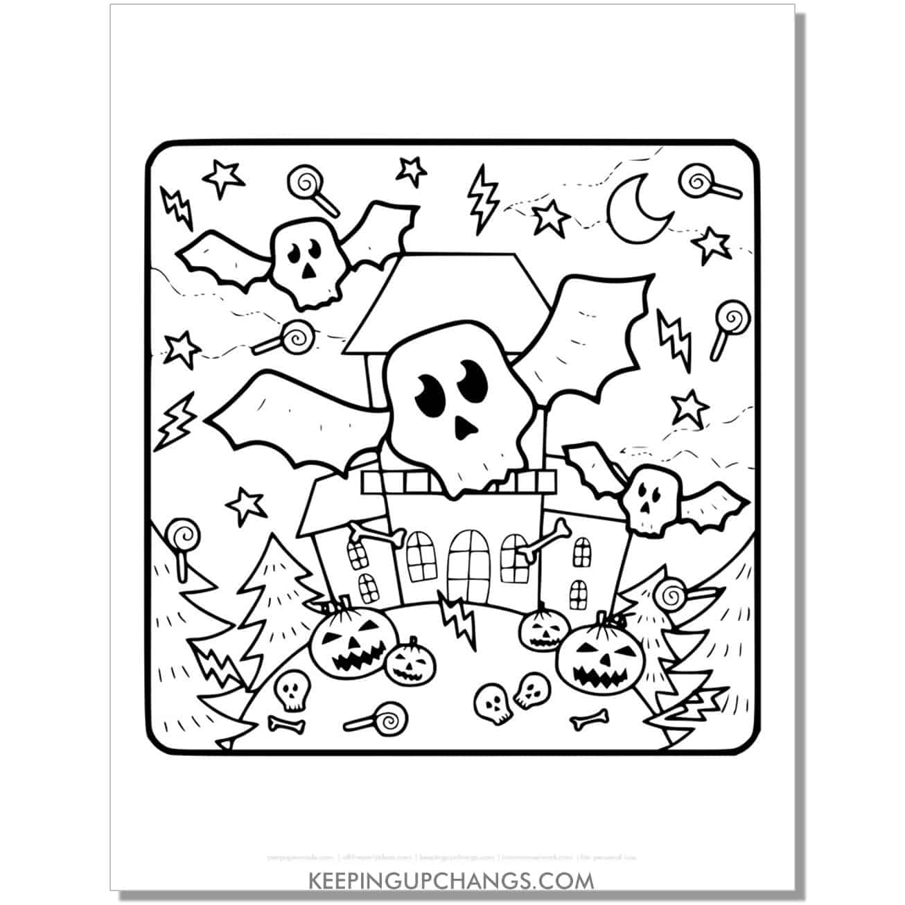 free scary haunted house will skull bats coloring page.