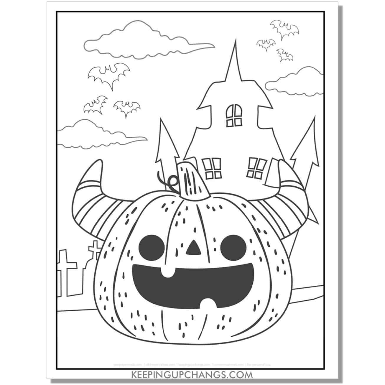 free haunted house with jack o lantern pumpkin and horns coloring page.