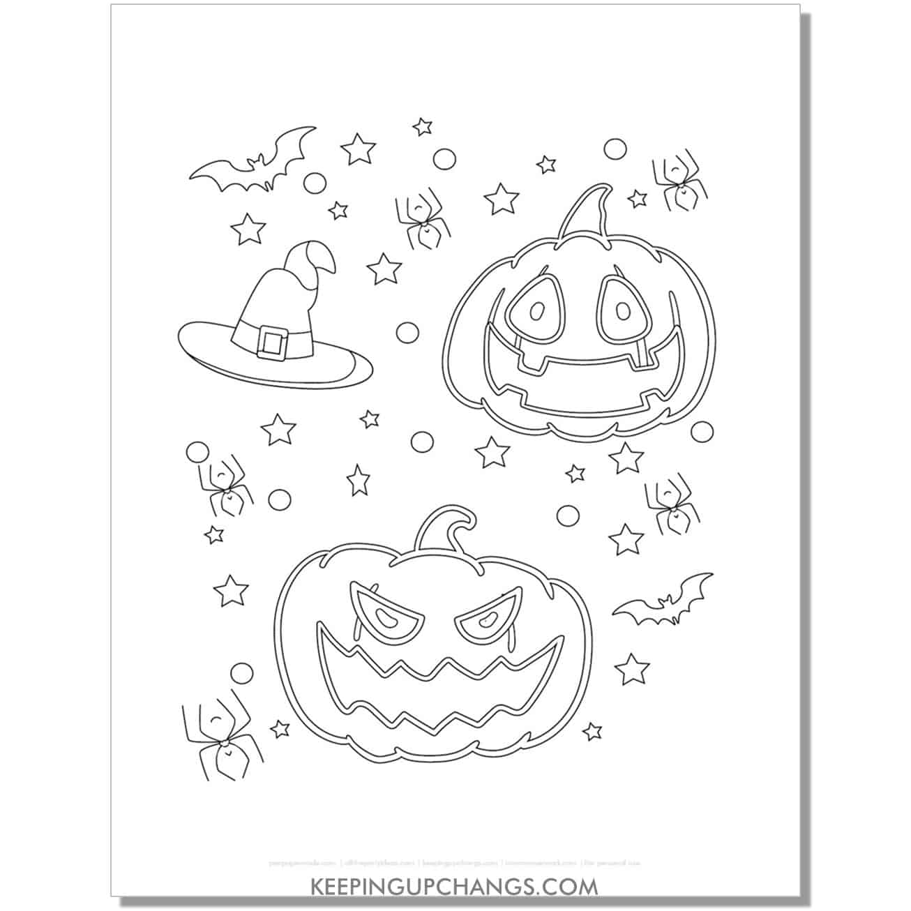 free halloween jack o lantern outline coloring page.