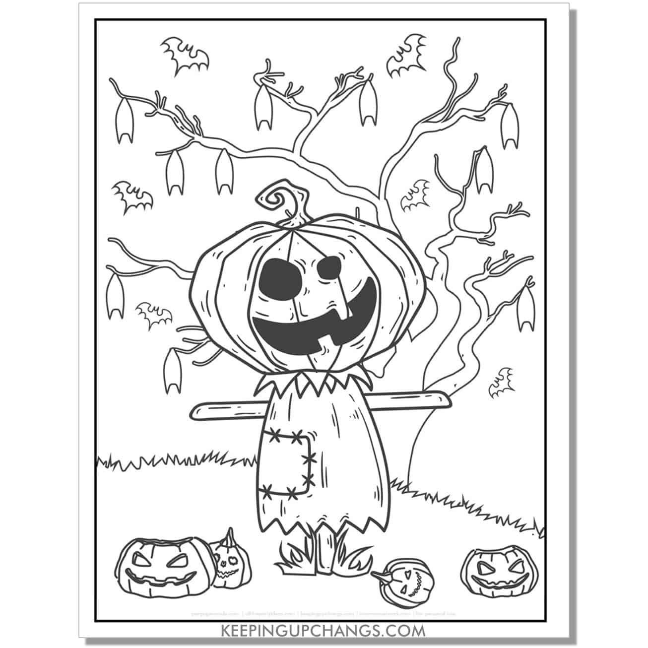 free halloween jack o lantern scarecrow coloring page.