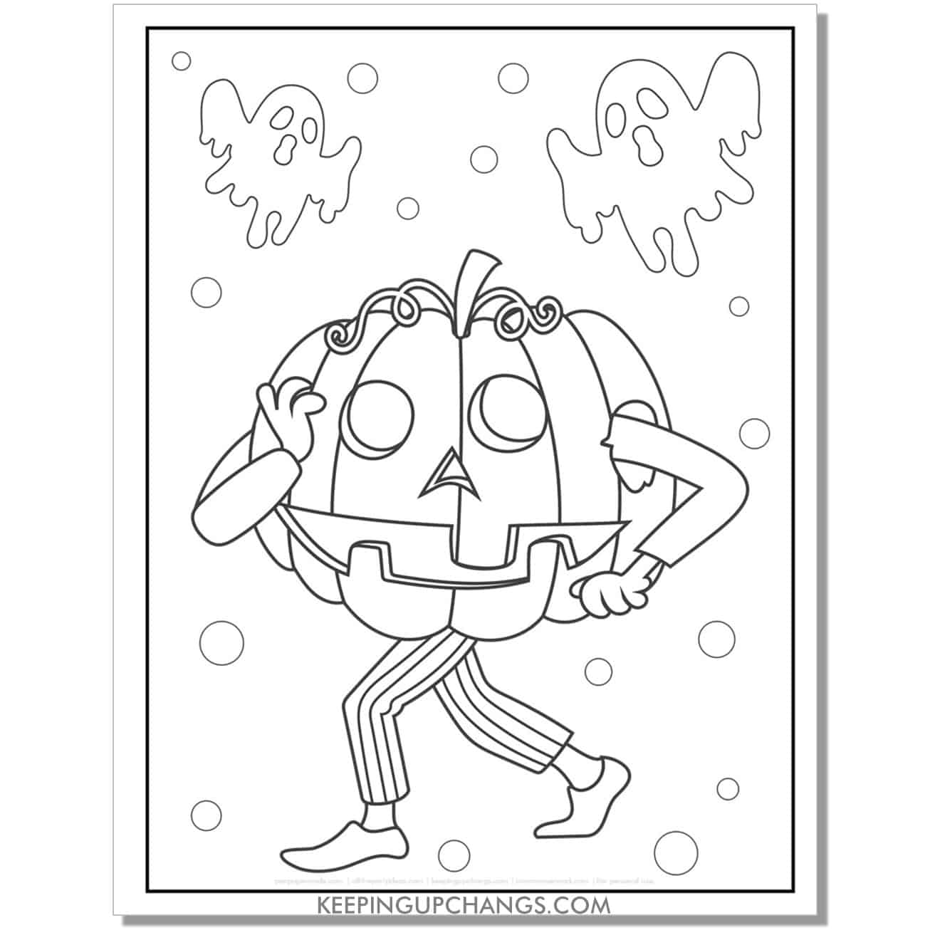 free funny halloween pumpkin costume coloring page.