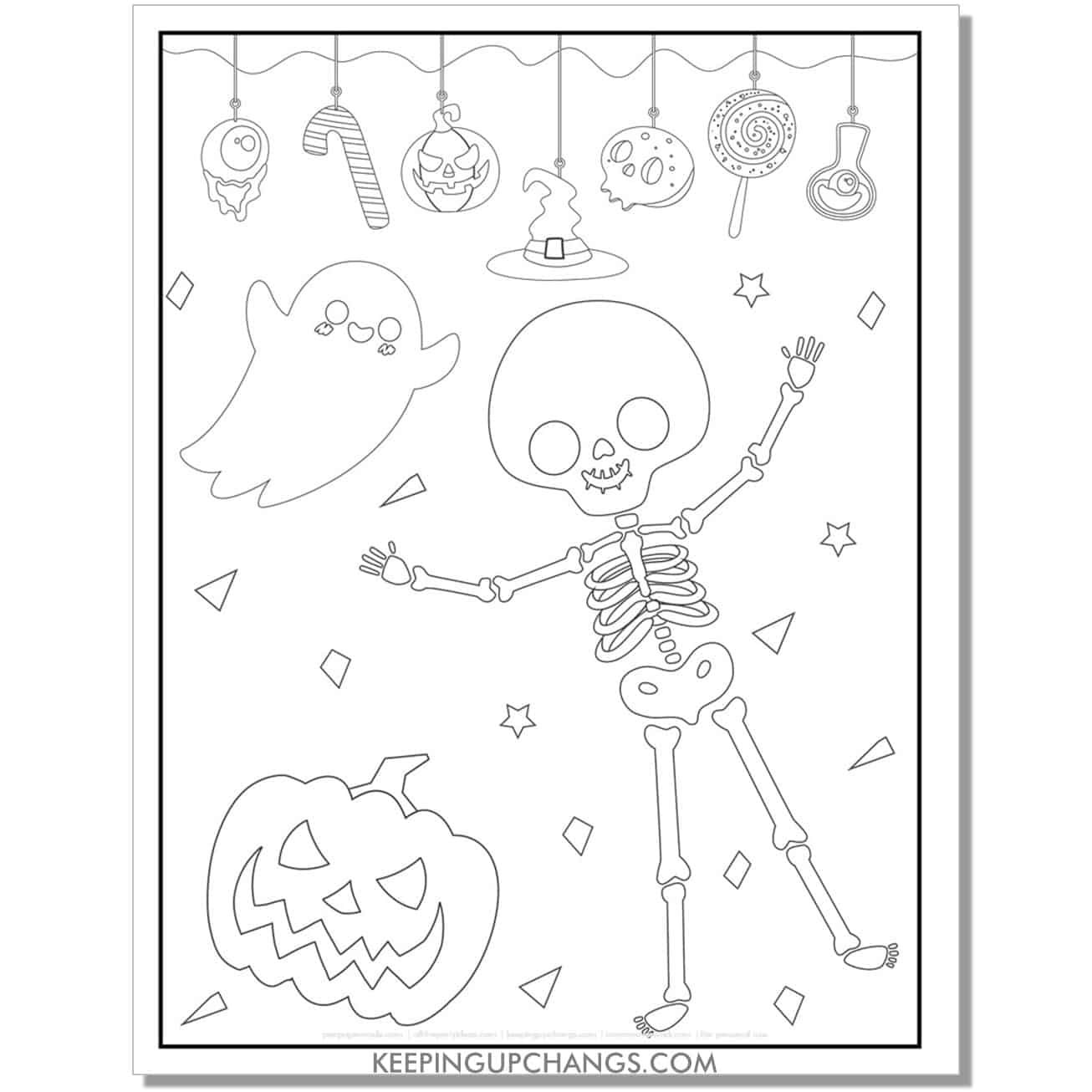 free halloween skeleton, ghost, jack o lantern having a party coloring page.