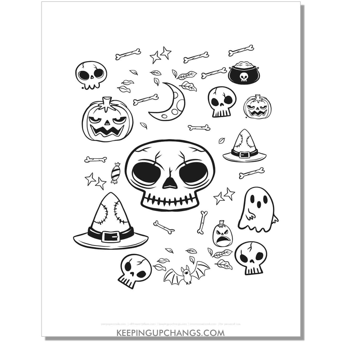 free halloween skull, jack o lantern, skull, hat, ghost coloring page.